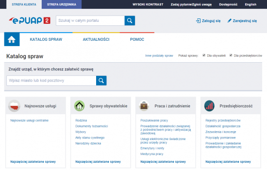 Katalog spraw na platformie ePUAP