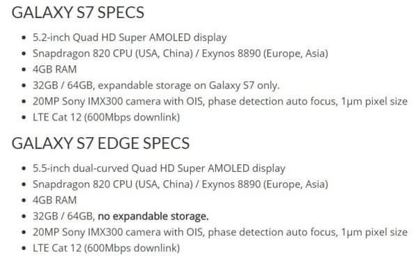 Galaxy S7 i Galaxy S7 Edge - specyfikacja