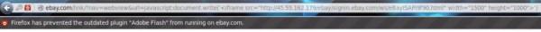 eBay - URL fałszywej strony logowania