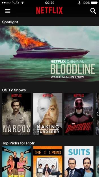 Netflix - aplikacja mobilna