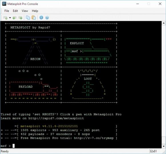 Poleceniem banner przywołasz stronę informacyjną, na której widnieje liczba modułów exploit, auxiliary i payload dostępnych w bieżącej wersji pakietu Metasploit.