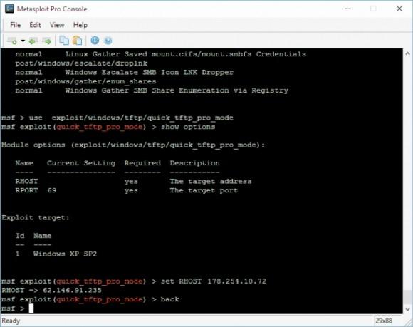 Poleceniem set skonfigurujesz wczytany moduł. Przykładowa ilustracja przedstawia moduł quick_tftp_pro_mode.