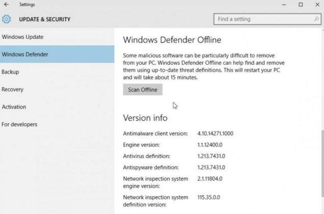 Windows 10 z zintegrowanym Windows Defender Offline