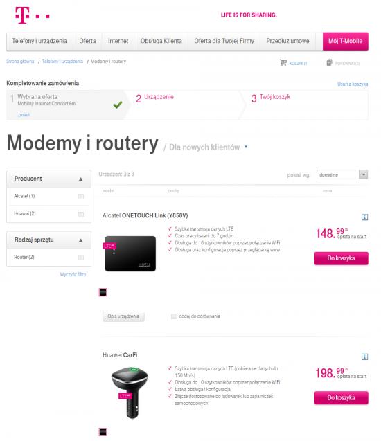 W ofercie urządzeń T-Mobile znalazł się router WiFi do samochodu Huawei CarFi, który umożliwia swobodne korzystanie z internetu w trakcie podróży.