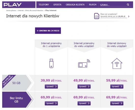 Wyższy abonament w ofercie Play z pakietem 50 GB oznacza niższą kwotę zakupu urządzeń oraz więcej SMS-ów do wykorzystania w ramach usługi. Pozostałe parametry oferty pozostają takie same.