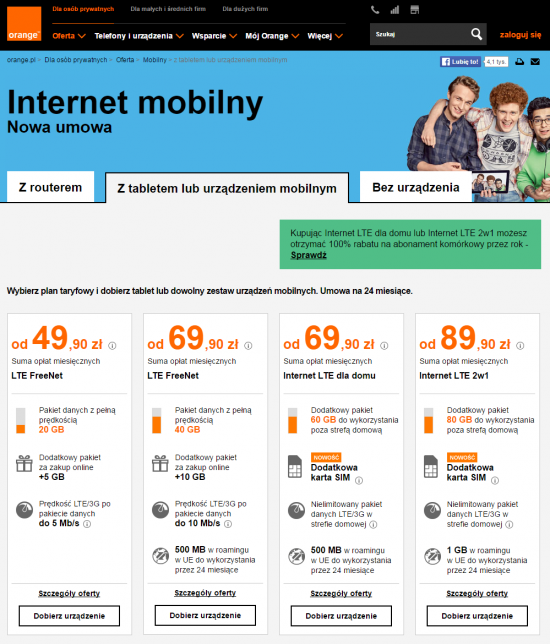 Oferta internetu mobilnego w Orange obejmuje klasyczne pakiety internetowe LTE FreeNet oraz plany dla domu Internet LTE dla domu i Internet LTE 2w1 z dużym pakietem danych do wykorzystania w strefie domowej.
