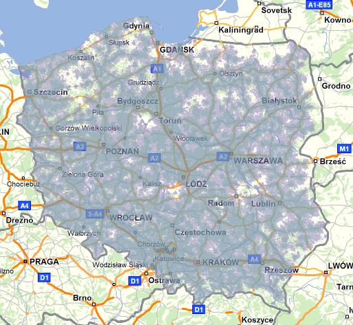Mapa zasięgu LTE w sieci Plus
