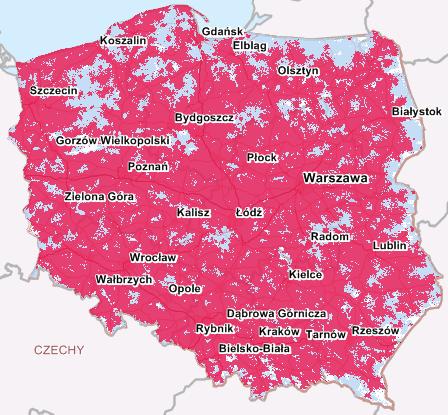 Mapa zasięgu LTE w sieci Cyfrowy Polsat