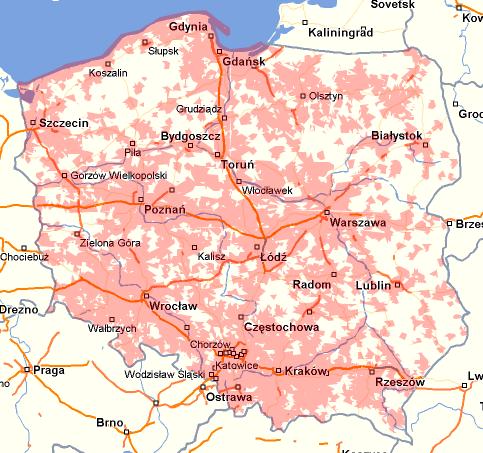 Mapa zasięgu LTE w sieci Orange