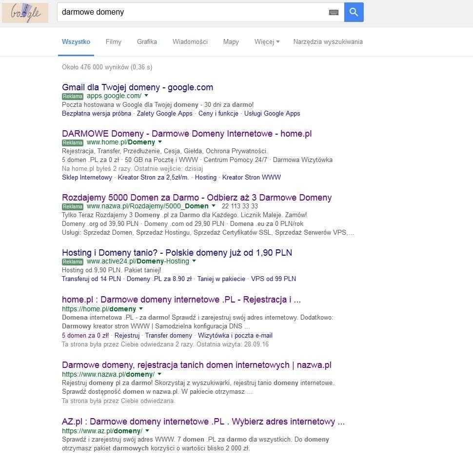 Darmowe Domeny - podpowiedzi Google