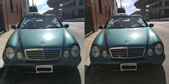 Na zdjęciu po lewej, wykonanym przy użyciu iPhone'a 6s, wyraźnie widać flarę obiektywu, podczas gdy to z iPhone'a 7 (po prawej) ma lepsze kolory – zarówno gdy patrzymy na samochód, jak i niebo. fot. Susie Ochs