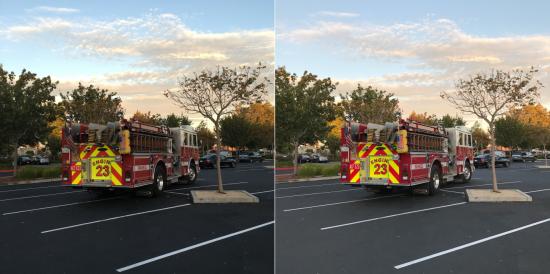 iPhone 7 (po prawej) lepiej uchwycił jasne kolory wozu strażackiego, a szczegóły w ciemnych obszarach są znacznie lepiej widoczne. fot. Susie Ochs