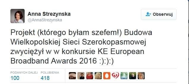 Projekt Wielkopolskiej Sieci Szerokopasmowej zwycięzcą konkurs European Broadband Awards 2016