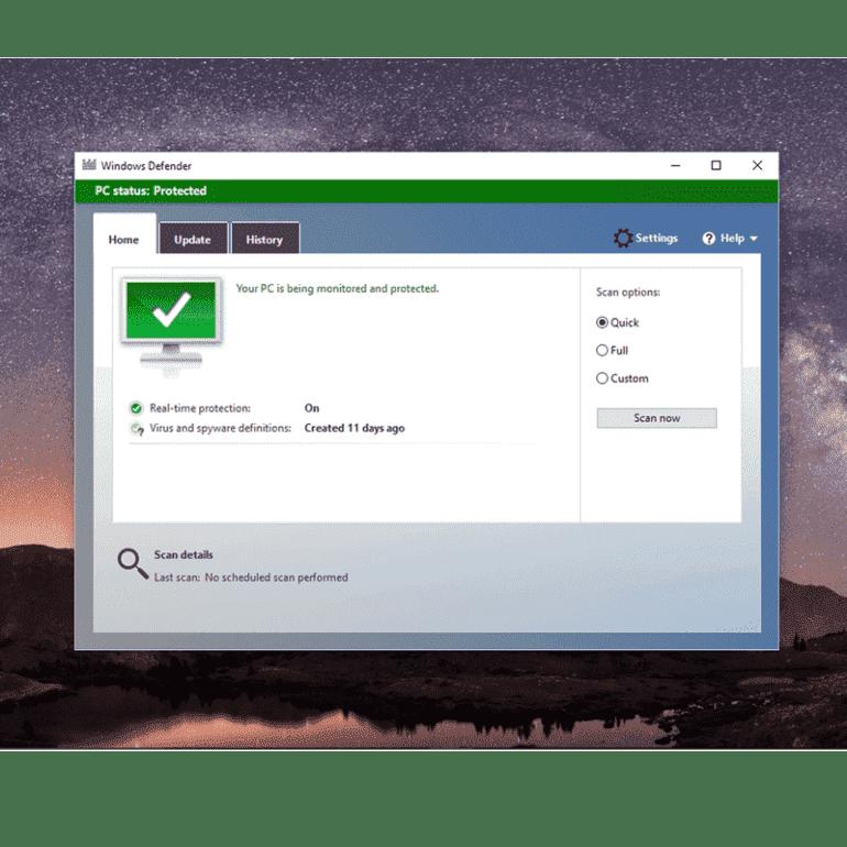 Windows Defender: skanowanie systemu
