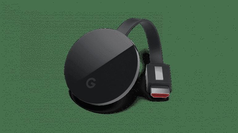 """Chromecast Ultra nie ma już na sobie charakterystycznego logo Chrome. Zamienił je znaczek """"G"""" czyli skrócona wersja logotypu """"Google""""."""