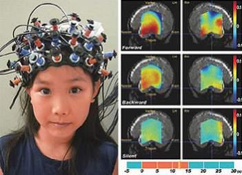 Czujniki na głowie dziewczynki pozwalają na zmianę pozycji włącznika kolejki. Po prawej obrazy jej mózgu w trakcie różnych etapów eksperymentu (źródło: Hitachi Japan, DailyTech)
