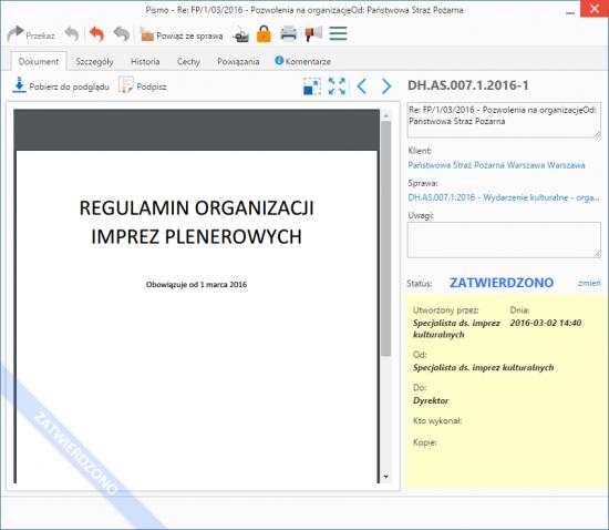 Okno akceptacji dokumentu w systemie eDokumenty. W jednym miejscu widzimy wszystkie informacje o sprawie: podgląd obrazu, kogo i czego dotyczy sprawa oraz kto wprowadził i zaakceptował dokument w systemie.