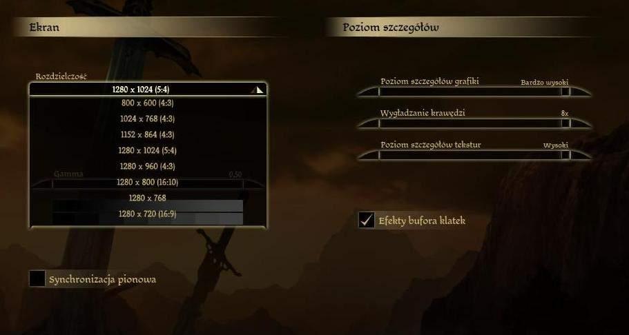 Ustawienia grafiki w grze