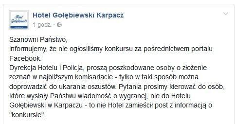Ostrzeżenie Hotelu Gołębiewski