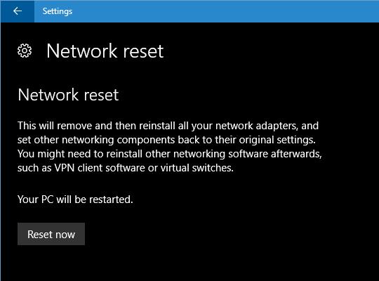 Resetowanie ustawień sieci w Windows 10
