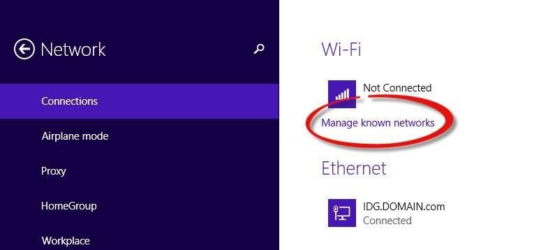 Zapominanie sieci na Windows 8