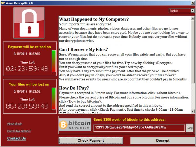 Komunikat wyświetlany przez WanaDecrypt0r, zawierający informacje o okupie za odblokowanie plików.