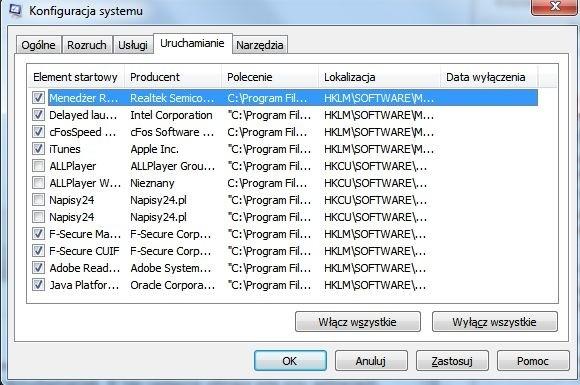 Konfiguracja systemu w Windows 7 - usuwanie programów startowych