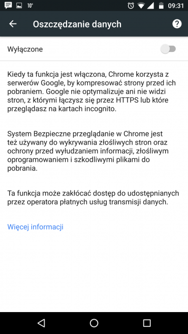Przeglądarka Google Chrome wyposażona jest w narzędzie do kompresowania danych