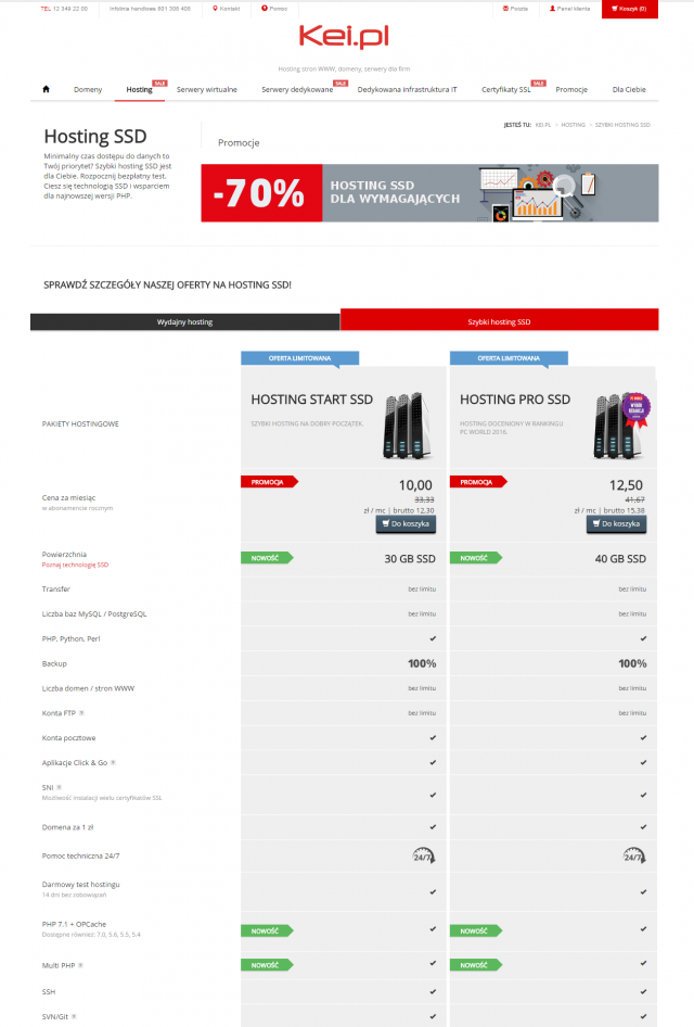 Coraz większa liczba dostawców, w tym Kei.pl, proponuje klientom plany hostingowe oparte na klasycznych macierzach oraz serwery korzystające z szybkich dysków SSD. Druga opcja to dobry wybór dla wymagających stron internetowych, gdzie minimalny czas dostępu do danych ma kluczowe znaczenie