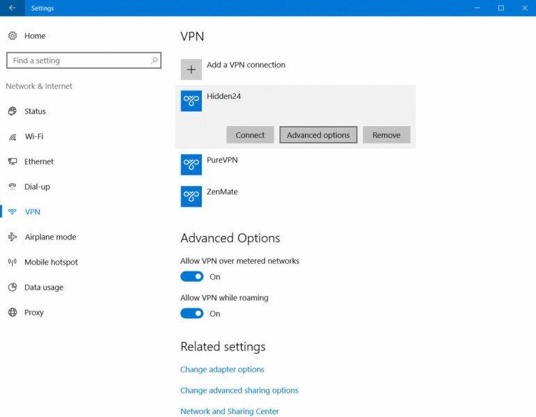 Hidden24 na liście sieci VPN w Windows 10