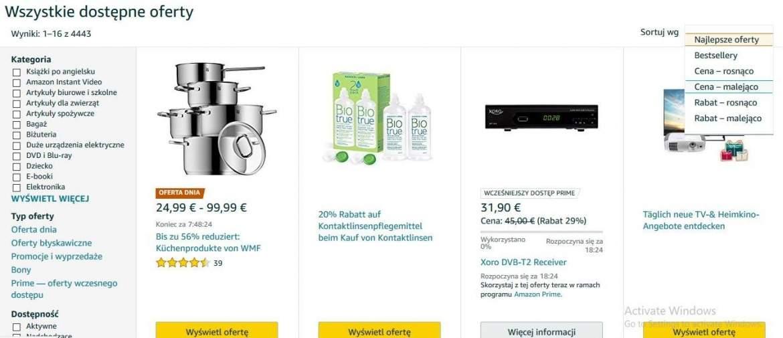 Filtrowanie ofert na Amazon