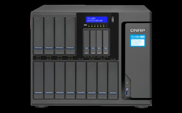 Polityki RODO na serwerach plików muszą być realizowane na wielu płaszczyznach - od szyfrowania wolumenów po nadawanie uprawnień dostępu do plików. Na zrzucie 16-dyskowy serwer NAS QNAP TS-1685 z wydajnym procesorem Xeon D.