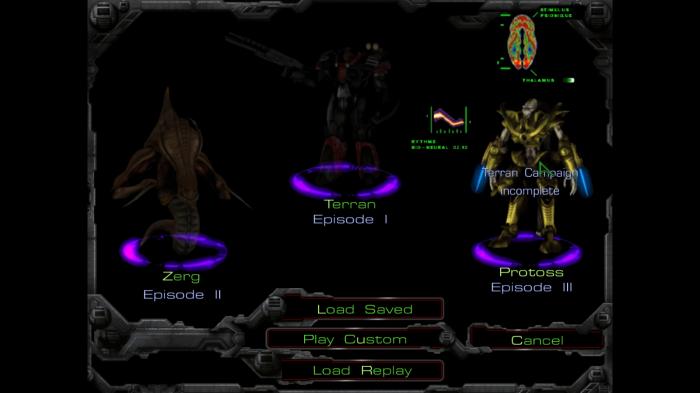 StarCraft. Ekran wyboru kampanii.