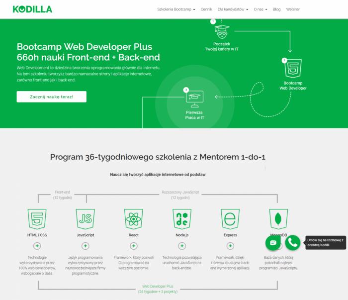 Kompletny kurs Web Developer Plus w Kodilla składa się z 24-tygodniowego szkolenia z front-endu i zaawansowanych technik Javascriptu zakończonych 12-tygodniową pracą nad 3 projektami, które wzbogacą portfolio aplikacji kursanta.