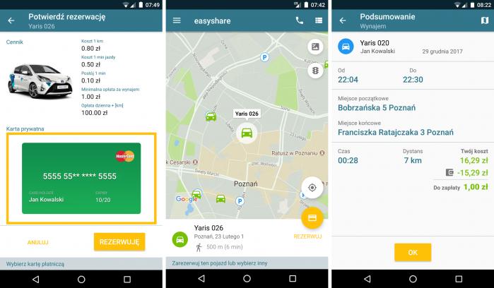 Wszystkie usługi carsharingowe w Polsce wymagają skorzystania z aplikacji na urządzenia mobilne. Oprogramowanie jest zazwyczaj intuicyjne. Na ilustracji aplikacja z usługi easyshare.