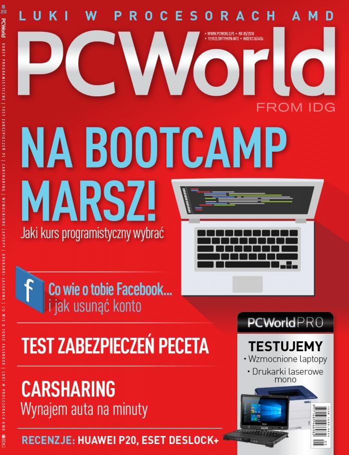 """""""PC World"""" 5/2018 - okładka wydania."""