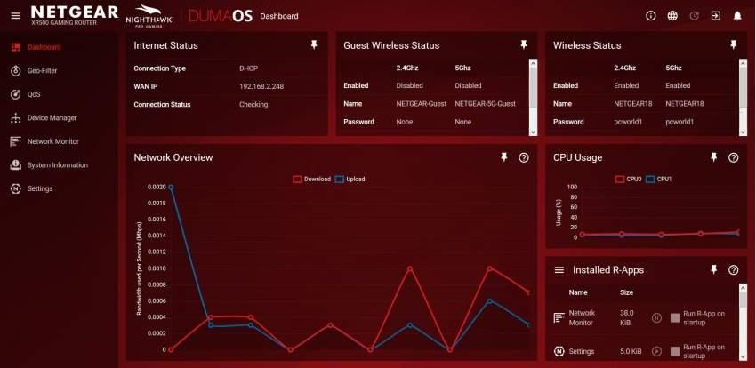 System DumaOS pracuje w języku angielskim, jednakże graficzna forma prezentacji danych zapewnia należytą intuicyjność obsługi.
