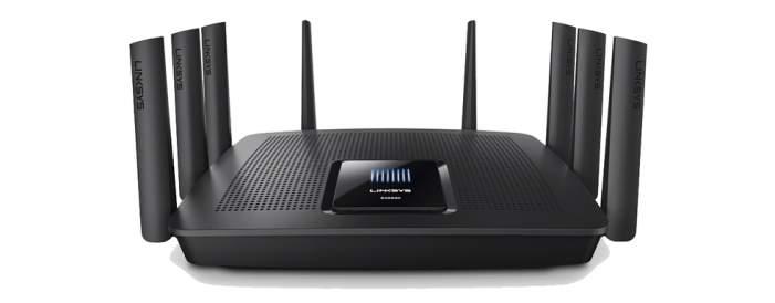 Linksys EA9500 Max-Stream AC5400 Gigabit Wi-Fi Router to oruter wyposażony w 8 portów Gigabit Ethernet oraz punkt dostępowy Wi-Fi obsługujący najnowszy standard 802.11ac oraz starsze 802.11a/b/g/n.