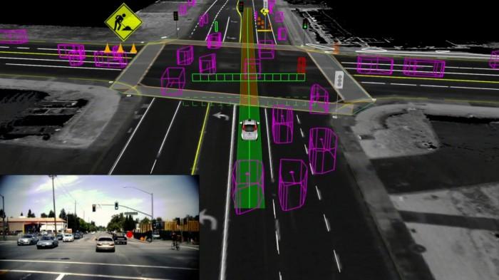 Rezultatem wykonywanych obliczeń jest wyznaczenie optymalnej i bezpiecznej trasy, którą powinien poruszać się autonomiczny pojazd (zielona linia). Aby pokonać tę trasę, komputer sterujący samochodem wydaje podzespołom pojazdu szereg komend dotyczących skręcania, przyspieszania, hamowania, włączania kierunkowskazów itp. (źródło: Google).