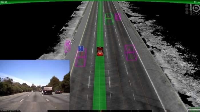 Trasa ruchu autonomicznego pojazdu wyznaczona na autostradzie (źródło: Google).