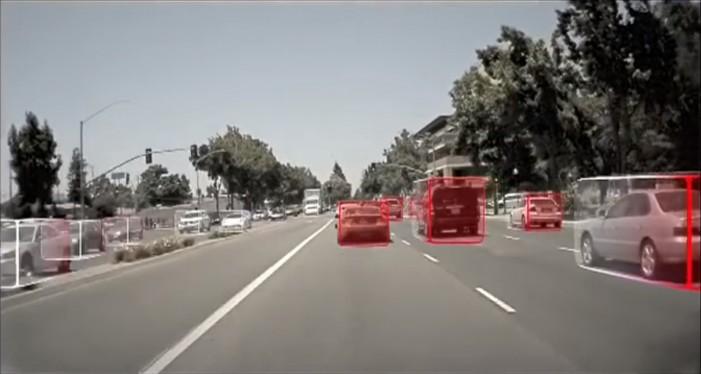 Algorytm wykrywania obiektów realizowany przez komputer pokładowy Nvidia Drive PX Pegasus  (źródło: Nvidia).