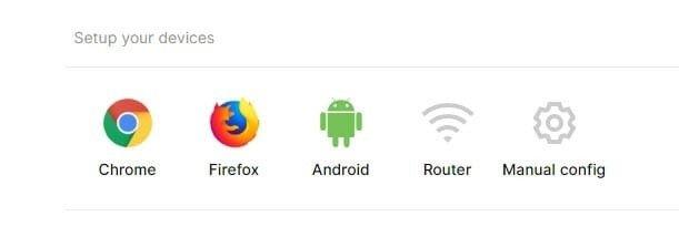 Surfshark VPN - wybór urządzenia/przeglądarki