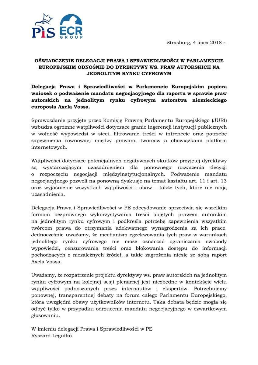 Oświadczenie delegacji PiS w PE