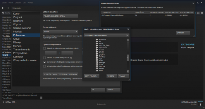 Steam. Nowy folder Steam.