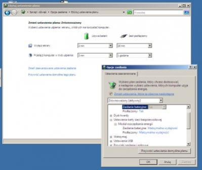Ekran zarządzania poborem mocy w Windows Viście