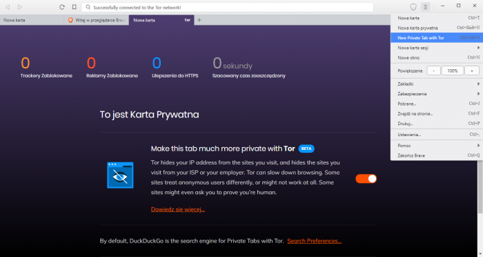 Interfejs przeglądarki Brave