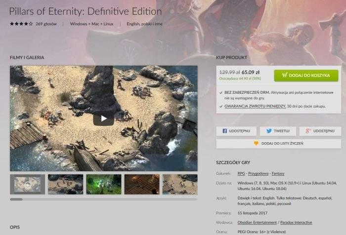 Promocja na Pillars of Eternity: Definitive Edition w GOG.com