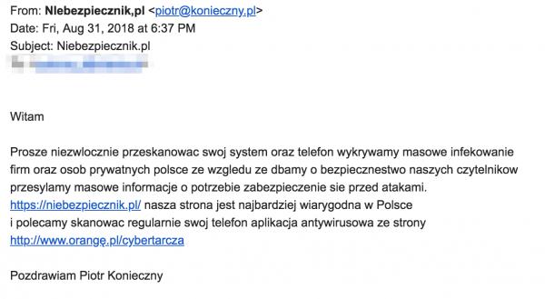 Fałszywy e-mail. Źródło: Niebezpiecznik.pl  (ten prawdziwy)