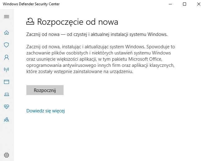 Proces reinstalacji Windows 10 można wygodnie rozpocząć z poziomu działającego systemu – korzystając z Windows Defender Security Center