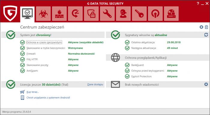 G DATA Total Security - moduł Centrum zabezpieczeń